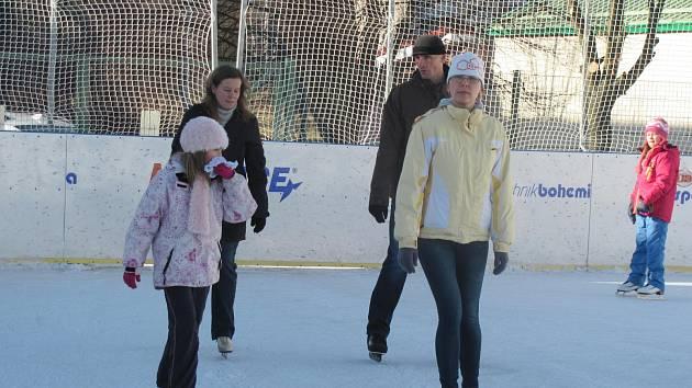 VENKOVNÍ PLOCHA. Venkovní kluziště vedle zimního stadionu navštíví průměrně stovka bruslařů denně.
