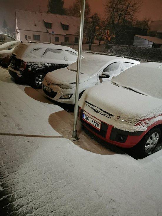 Sníh v Nové Bystřici.
