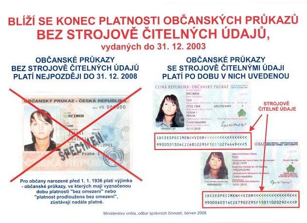 Občanské průkazy bez strojově čitelné zóny se na Nový rok stanou neplatnými.