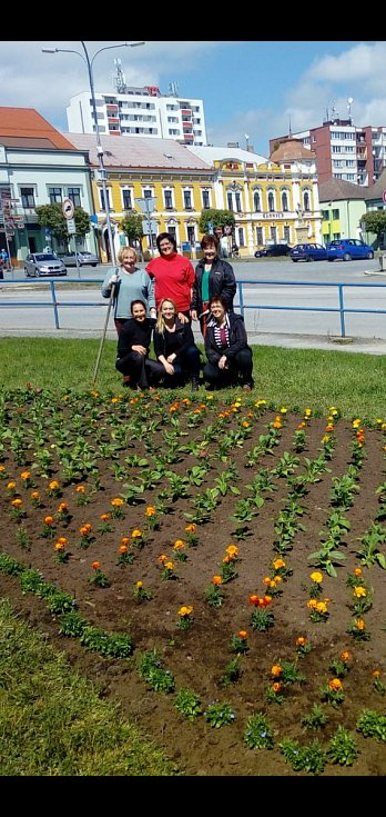 Ženy pro město vytvořily nový květinový záhon v centru Veselí nad Lužnicí.