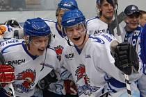 Petr Zíb (na snímku vpravo po boku Jiřího Ferebauera) před dvanácti lety takto slavil postup HC Tábor do první ligy.