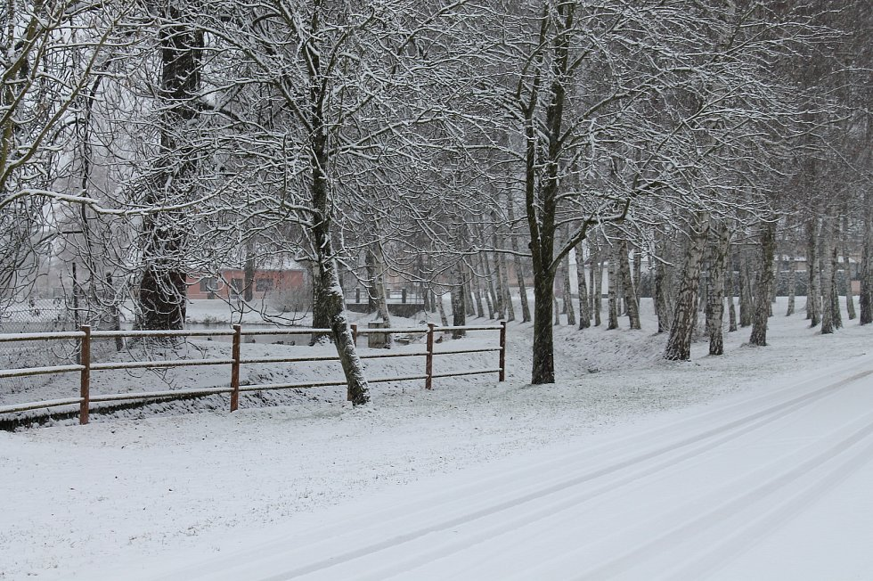 Tříkrálové sněžení v obci Sviny na Táborsku.