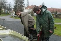 Tomáš Jenšík Petr Jahn z Tábora lovili rybník ve Vyhnanicích