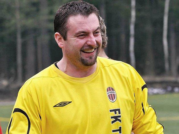Táborský brankář Martin Blažek.