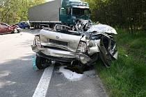 Mladý řidič kamionu před téměř třemi lety přehlédl stojící kolonu aut u Roudné.