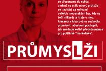 Plakát na přednášku Průmysl lži.