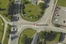 Místo, kde se auto srazilo staršího chodce