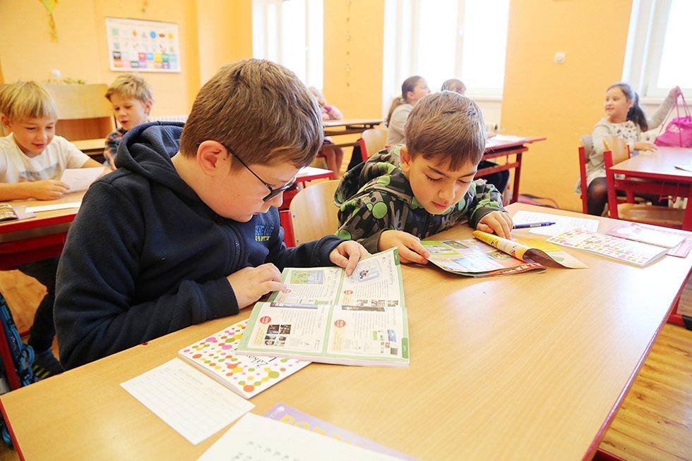 První školní den v ZŠ Mikuláše z Husi Tábor.