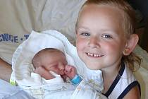 PATRIK DUŠEK Z TÁBORA. Narodil se 6. června v 5.49 hodin. Vážil  265O g, měřil 46 cm a už má  dom dva brášky  – Jiříka  (5) a   Péťu (11 měsíců).