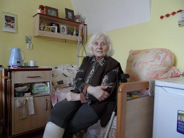 Marie Frejlachová v Domově seniorů v Tučapech.