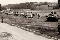 Tanky v Kvapilově ulici v Táboře v srpnu 1968.