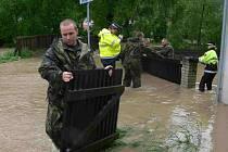 V Táboře Čelkovicích pomáhají vojáci i strážníci a hasiči.