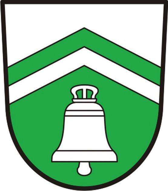 Znak. První symbol obce Lom připomíná zvonici.