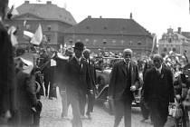 Prezidenta Tomáše Garrigua Masaryka přivítalo při Jihočeské výstavě zaplněné náměstí.