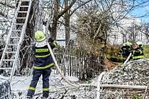 Hasiči pomocí pěny likvidovali požár kompostu a stromu.