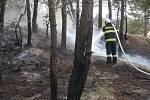 Požár porostu u Ratibořských Hor v části obce Ratibořice.