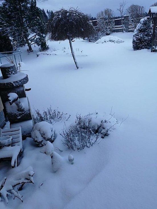 Sníh v Blažejovicích.