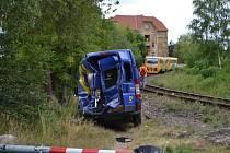Dopravní nehoda na vlakovém přejezdu  v Měšické ulici v Táboře.