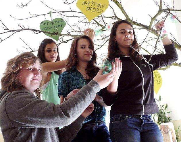 OZDOBILI STROM. Květy zPET lahví ozdobili strom na chodbě školy Petr Smíšek, Michaela Blažková (vpředu), Veronika Kotrbová a Veronika Zuntová.