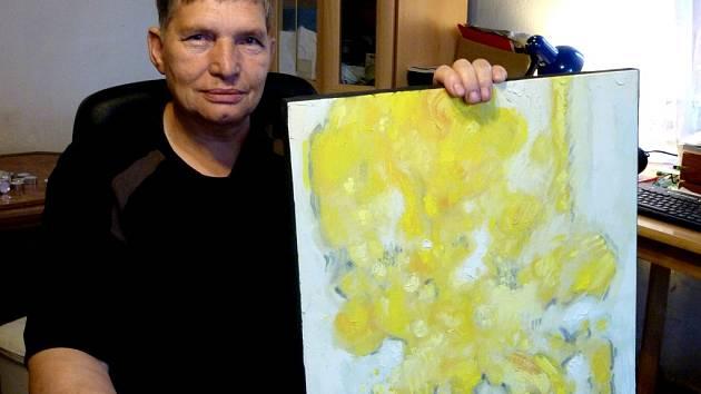 Básník držívruce žlutýobraz DimitrijeKadrnožky s názvemVčera. Dostalhodarem a napsal podle něj několik básní.