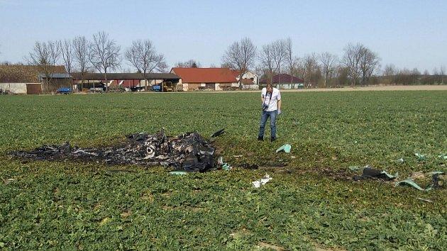Tragický pád malého letadla u Kundratic