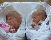 Kateřina a Veronika Nemravovy z Černovic. První  z dvojčátek  se 2. září v 1.16 hodin s váhou 2080 gramů a mírou 44 cm narodila Veronika (vpravo). O minutu později přišla na svět  Kateřina, která vážila 2420 gramů a měřila 45 cm. Dvojčátka už mají doma se