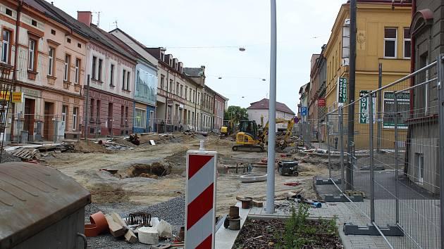 Dopravní uzavírka Budějovické ulice v Táboře.