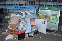 Takto přetékal kontejner na Sídlišti nad Lužnicí v Táboře v pondělí 28. prosince.
