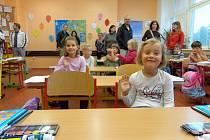 První školní den v Plané nad Lužnicí.