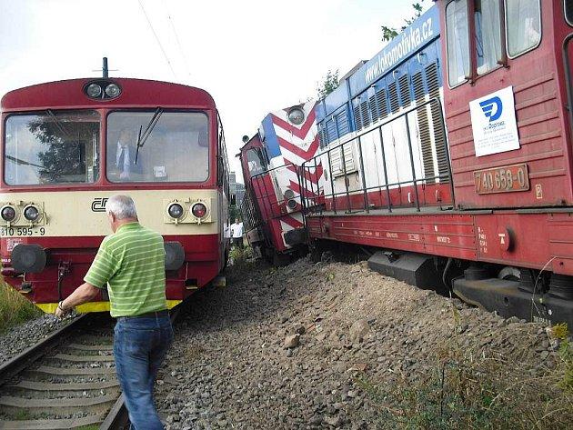Nehoda na kolejích v Táboře.