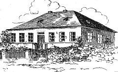 Kresba od syna řídícího Boušky, Oldřicha. Jako dizertační práci kreslil prasetínské chalupy. Kresba je z období před II. světovou válkou.
