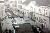 Vizualizace projektu. Cílem úprav nástupního prostoru je vytvoření klidnějšího a důstojného vstupu do významné budovy ve městě. Divákům mají stavební úpravy zpříjemnit příchod na představení.
