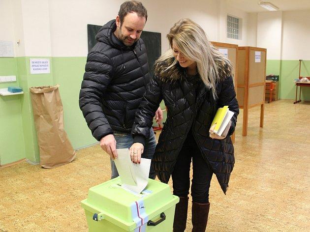 Ve 14 hodin druhý den prvního kola prezidentské volby končí. Snímek je z okrsku ve škole v Helsinské ulici v Táboře.