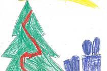 STROMEČEK  S HVĚZDOU. Takto vydá ozdobený stromeček s ještě nerozbalenými dárky  v rodině  Anetky Pěknicové z Tábora, která letos začala chodit do školy.