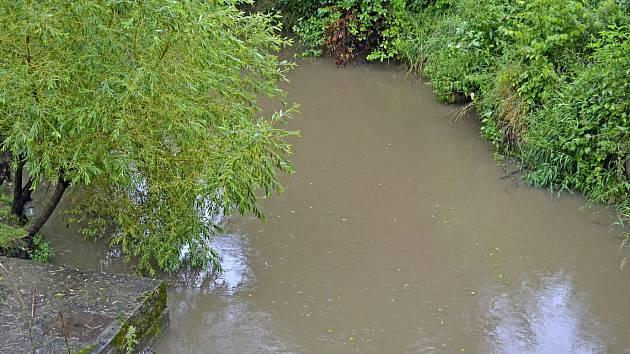 Kozský potok zvýšil svou hladinu, ale koryto neopustil