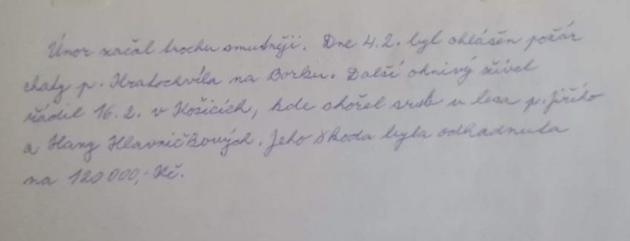 Záznam osérii požárů (první dva) zhasičské kroniky SDH Košice zroku 1999.