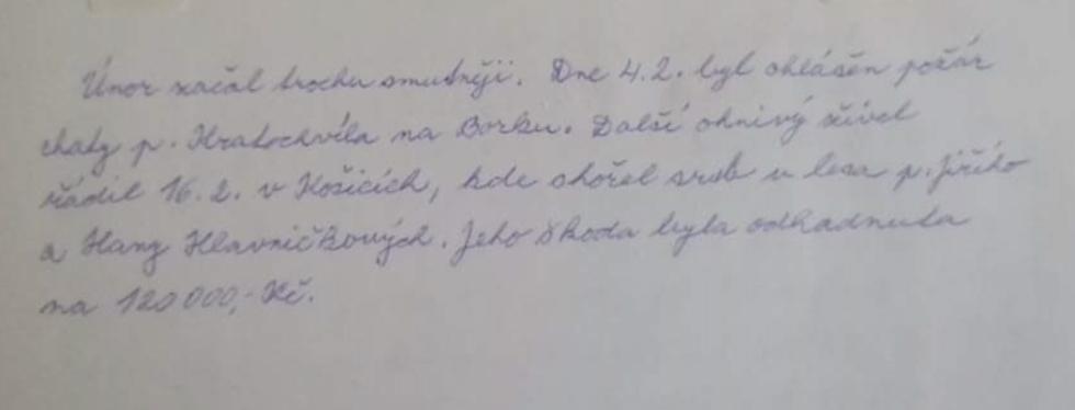 Záznam o sérii požárů (první dva) z hasičské kroniky SDH Košice z roku 1999.