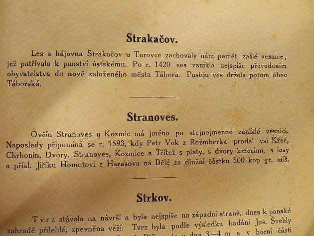 Zmínky oStrakačově a dalších zaniklých vesnicích vTuroveckém lese vhistorických knihách a místopisech.