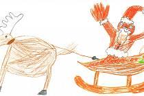 SANTA CLAUS. Santa Clause se sobem, kteří se připravují na nadělování dárků pod vánoční stromečky, zachytil prvňáček Jakub Růžička.
