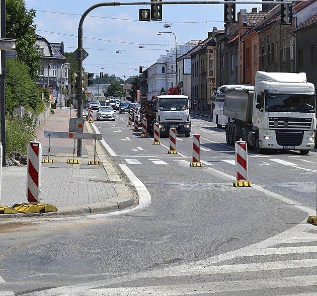 Opravy na Budějovické ulici.