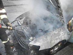 V Soběslavi hořelo auto.