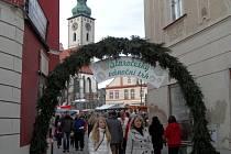 Staročeský vánoční trh na náměstí v Táboře.