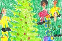 RODINA U STROMEČKU. Lucinka Šafratová z první třídy nakreslila, jak  jde se sestrou, taťkou a mamkou  o štědrém večeru k ozdobenému stromečku rozbalovat dárky, které jim nadělil Ježíšek. Lucka už ví, že Ježíšek nosí dárky jen hodným dětem.