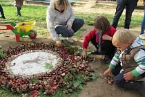 Podzimní odpoledne v zahradě ekoškoly se vydařilo.