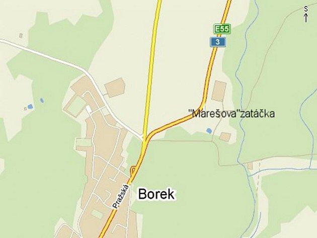 Jeden z nejnebezpečnějších úseků na Českobudějovicku. Zatáčka měří přibližně jeden kilometr.