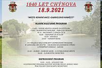 Chýnov na Táborsku chystá velkolepé oslavy své první písemné zmínky. Konají se už v sobotu 18. září. Plakát akce. Foto: archiv města Chýnov