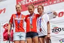 Mistrovský triumf mladších žákyň, zleva druhá Kateřina Červenková, vítězka Denisa Červenková a bronzová Kateřina Mičková.