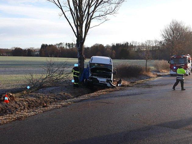 UOpařan po nárazu do stromu zemřel řidič dodávky.
