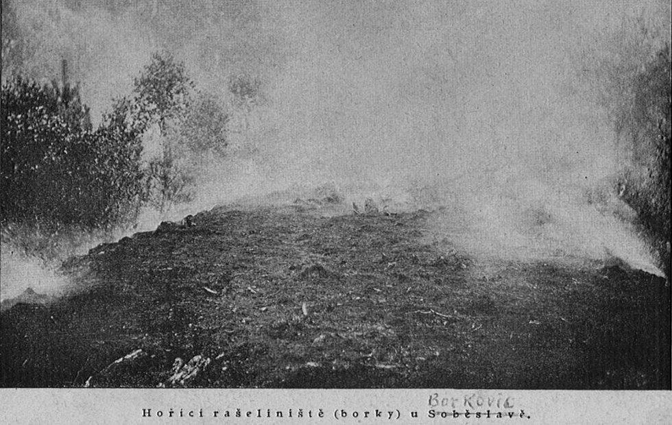 Z historie těžby rašeliny v Borkovicích.