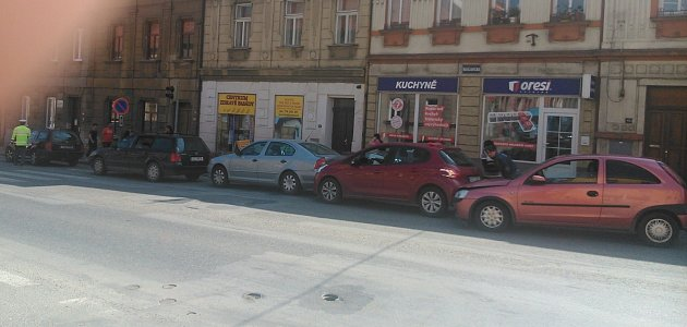 Hromadná nehoda v Táboře na Budějovické ulici